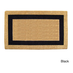 None - Heavy Duty Coir Single PIcture Frame Doormat - Naturally harvested coir fibers are hand-woven in traditional looms and then sheared to create a dense pile that helps trap dirt and moisture and clean shoes. Elegant designs are hand stenciled on the mat using fade resistant dyes.