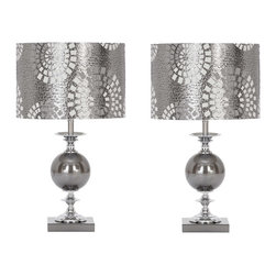 """Casa Cortes - Casa Cortes Malibu Metallic 22"""" Table Lamp - Set of 2 - Give a fresh look to any living space with this versatile Casa Cortes Metallic Table lamp. Features a round shade in an exciting metallic silk blend with a fresh off-white inner lining that enhances the look. The metal base is adorned with a glass elliptical ball that make a breathtaking addition to modern, contemporary, and even transitional living spaces. Set includes 2 lamps."""