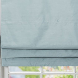 Dupioni Silk Cordless Roman Shade with Blackout Lining, Blue Dawn - Roman shades with blackout liners are perfect for getting the much-needed peace and quiet after a long day in the sun.