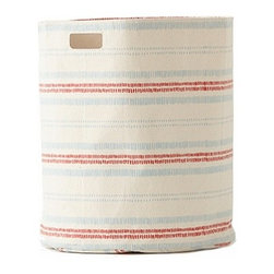 Pehr Sky/Tomato Railroad Canvas Storage Hamper - This whimsical hamper in squiggly tomato red and sky blue horizontal lines print is unique and durable. Made from 100% Heavy weight cotton canvas and machine washable. Just one of many prints to choose from, the Petite Pehr Alphabet Hamper will fit perfectly into your child's room.