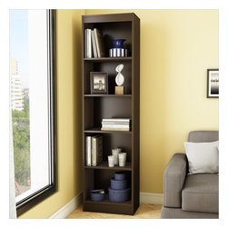 South Shore - South Shore Axess 5-Shelf Narrow Bookcase in Chocolate - South Shore - Bookcases - 7259758 - Ideal for your binders books or decorative items this versatile 5-shelf bookcase can meet all your storage needs even in tight spaces. Both functional and attractive with its sleek contemporary styling this bookcase is sure to enhance the look of any room in your home.