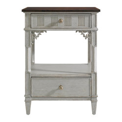 Stanley Furniture - Charleston Regency Palmetto Telephone Table - The delicate floral carving of the Palmetto Telephone Table is beautifully accentuated in Ropemakers White or Gray Linen. It offers two drawers and one fixed shelf. Made to order in America.