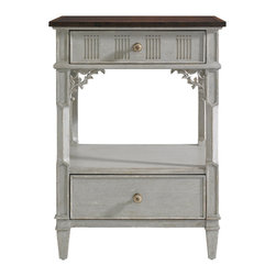 Stanley Furniture - Charleston Regency Palmetto Telephone Table - Gray Linen Finish - The delicate floral carving of the Palmetto Telephone Table is beautifully accentuated in Ropemakers White or Gray Linen. It offers two drawers and one fixed shelf. Made to order in America.