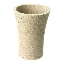 Gedy - Round Toothbrush Holder Made From Stone in Natural Sand Finish - A high quality option. Contemporary in design, this this tumbler/toothbrush holder is made in stone and finished in natural sand. Imported from Italy by Gedy. High quality natural sand toothbrush holder/tumbler. Contemporary & modern free-standing bathroo