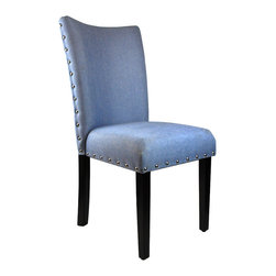 None - Arbonni Modern Parson Blue Upholstery Chairs (Set of 2) - This parsons chair is durably constructed with features like a tufted fabric seat,wooden legs and a nailhead trim around the edges. This set of two chairs provides a comfortable and pleasant seating experience for your friends,family,and guest.