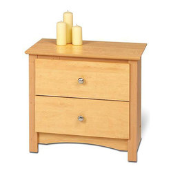Prepac Furniture - Prepac Sonoma 2 Drawer Night Stand in Maple - TSonoma 2 Drawer Night Stand in Maple by Prepac Furniture features two full sized drawers, a profiled top, side moldings and an arched kick plate. Other highlights include solid brushed nickel knobs and drawers that run on smooth, all-metal roller glides with built-in safety stops. As a higher quality ready-to-assemble product, it is made from durable composite woods and, unlike other RTA furniture, has no plastic edge-banding.
