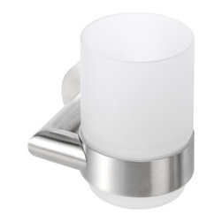 Geesa - Wall Mounted Stainless Steel Tumbler Holder with Frosted Glass Tumbler - Wall mounted stainless steel tumbler holder with frosted glass tumbler.