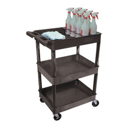 """Luxor - Luxor Tub Cart - STC111H-B - These Luxor STC series utility carts are made of high density polyethylene structural foam molded plastic shelves and legs that won't stain, scratch, dent or rust. Features a retaining lip around the back and sides of flat shelves. Includes four heavy duty 4"""" casters, two with brake. Has a push handle molded into the top shelf.  24""""W x 18""""D shelves Tub shelves are 2 3/4"""" deep  This STC111H-B cart comes with bottle holder for cleaning supplies. Clearance between shelves is 11 3/4""""  Optional surge suppressing electrical assembly has 3-outlets 360 degree swivel cord wrap that attaches to the leg of your choice. STC series has optional 2 or 3 shelf units with a variety of height selections and 2 shelf size options with either tub or flat shelves.  Easy assembly. Made in USA"""