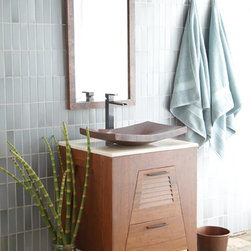 "Trinidad Bamboo Bathroom Vanity by Native Trails - Handcrafted from solid, sustainable, Woven Strand Bamboo, Trinidad 24"" Bamboo Vanity is carved horizontal slats and triangular shaped legs bring to mind fresh breezes floating through the quaint louvered window shutters that adorn Caribbean cottages and bungalows."