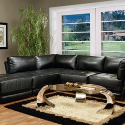 Kayson Contemporary Leather Sectional Sofa by Coaster - Kayson Contemporary Leather Sectional Sofa by Coaster