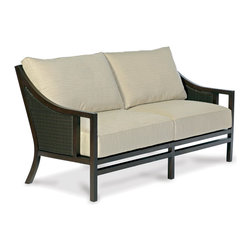 Thos. Baker - Audrey Wicker Outdoor Sofa - The audrey collection features durable powder-coated aluminum frames with N-duraA all-weather woven wicker inserts in black walnut. The hand applied java powder-coat is almost indistinguishable from genuine mahogany.Generously proportioned seating features fade- and water-resistant Sunbrella all-weather cushions. Immediate availability in Dupione Sand; over 50 alternative colors available made-to-order in 2-3 weeks.The styling says 1960s Mad Men Manhattan.Signature or premium cushion sales are final and ship in 2-3 weeks.