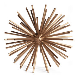 Kathy Kuo Home - Hollywood Regency Brass Designer Starburst Sculpture - L - Whether placed within a luxe-finished Hollywood Regency space or in a sparse Midcentury style home, the simplicity and style of the Sputnik sculpture creates a an easy, modern sophistication. Alone or in a group, there's a reason why this classic motif has remained popular for decades.