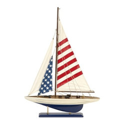 IMAX CORPORATION - Carter American Flag Sailboat - Sail away on patriotism with our Carter American Flag Sailboat. This charming replica sailboat is a perfect addition to tabletop or shelf top in a nautical themed decor. Find home furnishings, decor, and accessories from Posh Urban Furnishings. Beautiful, stylish furniture and decor that will brighten your home instantly. Shop modern, traditional, vintage, and world designs.