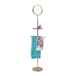 """Renovators Supply - Mirrors Bright Chrome Mirror Shelf & Towel Rack Standing   19301 - It's a mirror, a shelf, and a towel rack! This multi-function adjustable floor mirror has a shelf and rack that can hold two towels. The base is 10 1/2"""" in diameter. Mirror adjusts from 59 1/4"""" to 81 1/4"""" high. Reverse side offers magnified view."""