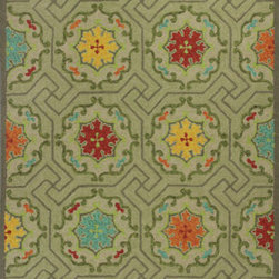 KAS Oriental Rugs - Meridian Green Mosaic Rectangular: 5 Ft. x 7 Ft. 6 In. Rug - - Meridian Green Mosaic 5 Ft. x 7 Ft. 6 In. Rug  - Hand-Hooked  - No Backing  - Made in China  - Vacuum regularly and spot clean stains  - Professional cleaning recommended periodically  - Finish/Color: Green  - Product Depth: 90  - Product Width: 60  - Product Height: 0.25  - Product Weight: 18  - Material: 100% UV-Treated Polypropylene Hook  - Bale Diameter: 6 KAS Oriental Rugs - MEI25225X76