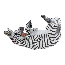 Cute Zebra Hand Painted Wine Bottle Holder - This awesome playful zebra bottle holder figurine is great for holding wine bottles, liquor bottles, or for holding olive oil as part of your kitchen decor. Made of cold cast resin, the holder stands 7 inches tall, is 12 1/2 inches long, and 4 3/4 inches deep. It makes a great gift for any zebra lover.