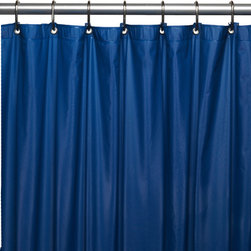 """Hotel Collection, 8 Gauge Vinyl Shower Curtain Liner w/ Metal Grommets in Navy - 8 gauge """"Hotel Collection"""" vinyl shower curtain liner with metal grommets in Navy, size 72""""x72"""". Protect your favorite shower curtain with our top-of-the-line Hotel Collection Vinyl Shower Curtain Liner. This standard-sized (72'' x 72'') liner is made with an extra heavy (8 gauge), water repellant vinyl that easily wipes clean.With metal grommets along top of the liner to prevent tearing. Here in Navy, this liner is available in a variety of fashionable colors. With its wonderful features and fashionable colors, this liner could also make a great shower curtain. Wipe clean with damp sponge with warm soapy cleaning solution"""