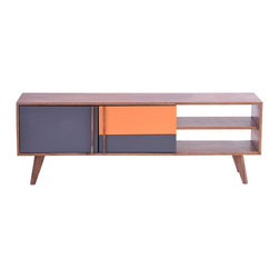 """Orange You Glad TV Cabinet - Aren't you glad orange is back in style? It's a color that's bold, smart, creative, and says """"look at me."""" And when paired with wood textures seen here, the result is an eye-catching TV cabinet."""