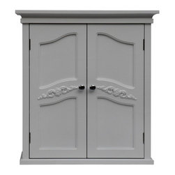 Elegant Home Fashions - Versailles Wall Cabinet with 2 Doors - The Versailles Wall Cabinet with Two Doors from Elegant Home Fashions features a white finish and a vintage look that compliments any bathroom. The cabinet design offers ample storage. The cabinet features two interior adjustable shelves that is ideal for storing items of different sizes.  The exquisite engraving on the door panels add an elegant touch. This cabinet comes with assembly hardware.