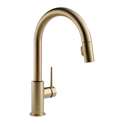 "Delta - Delta 9159-CZ-DST Trinsic Series Deck-Mounted Pull-Down Kitchen Faucet - The Delta 9159-CZ-DST is a Trinsic Series Deck-Mounted Pull-Down Kitchen Faucet. This deck-mounted pull-down kitchen faucet features a two-function pull-down spout sprayer, a solid brass fabricated body, and a single lever handle for precise temperature and volume control. This model has a 15-11/16"" tall 9-1/2"" long spout, and a Touch-Clean spray head that allows for less mineral build-up. Itcomes with a MagnaTite docking system, and dual integral check valves in the sprayer for less backflow. This faucet also comes with an optional 10-1/2"" keyed escutcheon for an easier installation, and a 1.8 GPM flow rate. This faucet is ADA and CalGreen compliant. This model comes in a refined, Champagne Bronze finish."