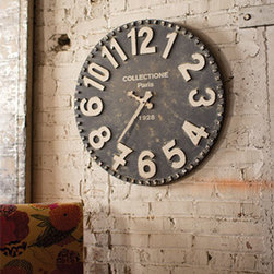 Kalalou - Black and White Wooden Wall Clock - - Inspired by antique wall clocks of the old Paris flea market, this rustic time piece is aged to perfection. With its bold white numbers, ornate arms, and old world texture, this beautiful clock is truly a unique piece Kalalou - CCG1158