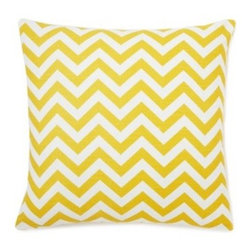 5 Surry Lane - Large Yellow Zig Zag Pillow - This vibrant, cheery pillow will breathe new life into any space.  The eye-catching zig zag motif adds the perfect dose of pattern and color.  Create a uniquely stunning vignette by mixing and matching with a variety of colors and patterns. Same fabric front and back.  Down feather insert included.  Hidden zipper closure.  Made in the USA.