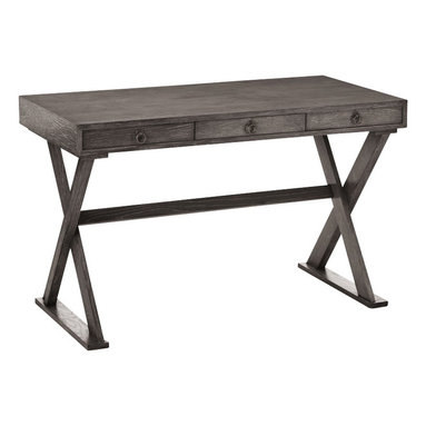 Arteriors - Cain Desk, Gray Limed Oak - Perfect as a desk, console table or sofa table, this handsome transitional piece sports a limed-oak veneer, for classic style with casual appeal. The top is fitted with three convenient drawers and rests atop an X-style trestle base, assuring extra stability.