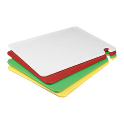 SAN JAMAR - CUTTING BOARD 15X20X1/ GREEN - The only cutting boards that prevent three types of cross-contamination. The patented food safety hook ensures sanitary carrying, preventing body or apparel contact. Boards hang on wire shelving for safe drying and storage. The original Kolor-Cut® system helps monitor safe preparation of different types of foods. Durable co-polymer construction provides superior heat, chemical and warp resistance in commercial dishwashers. Tough surfaces won't dull knives and prevent unsafe cut grooving where dirt and bacteria can hide. The cutting board choice of professional chefs worldwide. Shpg. wt. 32-lbs.. . . . . Green 15w x 20d x 1/2h. . . CUT-N-CARRY® Cutting Boards. Dimensions: Height: 0.04167, Length: 1.66667, Width: 1.25. Country of Origin: TW   CAT: Smallwares & Equipment Kitchen Supplies Cutting Boards