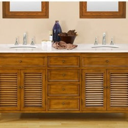 Direct Vanity Sink Shutter Collection 70-in. Double Bathroom Vanity - Oak - The traditional appeal of the handmade Direct Vanity Sink Shutter Collection 70-in. Double Bathroom Vanity – Oak brings a warm feel to any bathroom decor. This beautiful vanity features a wood frame construction with a warm oak finish and white marble double sink top. Other features include shuttered cabinet doors and paneled drawer faces soft-closing hinges and glides and patina bronze pulls. About J&J International DBA Direct Vanity SinkSince 2005 J&J / Direct Vanity Sink has been manufacturing high quality bathroom furniture that is designed to be both beautiful and affordable. Exclusive lines are designed manufactured and distributed to offer an alternative to higher priced name brand competition. Innovation and smart designs allow the company to provide quality style and affordability into each package.