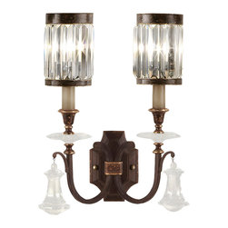 Fine Art Lamps - Eaton Place Sconce, 583050ST - Sparkle with substance — that's the mood you'll strike with this stately wall sconce. Inspired by an Edwardian manor house, it features dual shades of faceted channel-set crystal, brilliant pendants and a rustic iron finish with garnet undertones.