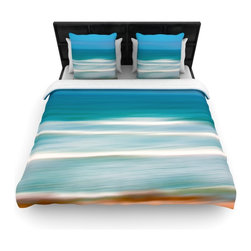 """Kess InHouse - Ann Barnes """"Sun and Sea"""" Blue Aqua Cotton Duvet Cover (Queen, 88"""" x 88"""") - Rest in comfort among this artistically inclined cotton blend duvet cover. This duvet cover is as light as a feather! You will be sure to be the envy of all of your guests with this aesthetically pleasing duvet. We highly recommend washing this as many times as you like as this material will not fade or lose comfort. Cotton blended, this duvet cover is not only beautiful and artistic but can be used year round with a duvet insert! Add our cotton shams to make your bed complete and looking stylish and artistic!"""