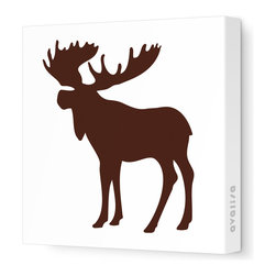 "Avalisa - Silhouette - Moose Stretched Wall Art, 12"" x 12"", Brown - This mod moose silhouette captures the spirit of the forest in chic, contemporary style. Create an ensemble of forest friends with moose, bear and squirrel silhouettes or let one extra-large moose print cast its magnificent presence over the room. Include some trees or other nature-inspired elements in the room to make your moose feel at home."