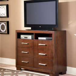 Coaster - Jessica Media Chest - The Jessica collection is crafted from solid wood and select veneers in light Cappuccino finish. The collection features full extension drawers dove tailing and solid wood back and side drawer construction.