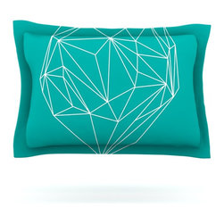 """Kess InHouse - Mareike Boehmer """"Heart Graphic Turquoise"""" Teal Abstract Pillow Sham (Woven, 30"""" - Pairing your already chic duvet cover with playful pillow shams is the perfect way to tie your bedroom together. There are endless possibilities to feed your artistic palette with these imaginative pillow shams. It will looks so elegant you won't want ruin the masterpiece you have created when you go to bed. Not only are these pillow shams nice to look at they are also made from a high quality cotton blend. They are so soft that they will elevate your sleep up to level that is beyond Cloud 9. We always print our goods with the highest quality printing process in order to maintain the integrity of the art that you are adeptly displaying. This means that you won't have to worry about your art fading or your sham loosing it's freshness."""