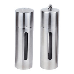 "Berghoff - Berghoff Round 2 pc Salt & Pepper Mill Set - Set includes: (7"") salt cellar and (7"") pepper mill. Durable 18/10 stainless steel will allow you to use these for years to come.  Mirror finish gives an elegant look on any table."