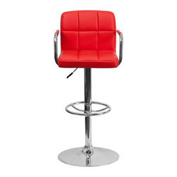 Flash Furniture - Flash Furniture Barstools Residential Barstools X-GG-DER-920201-HC - This sleek dual purpose stool easily adjusts from counter to bar height. The simple design allows it to seamlessly accent any area in the home. Not only is this stool stylish, but very comfortable to provide you with an amazing sitting experience! The easy to clean vinyl upholstery is an added bonus when stool is used regularly. The height adjustable swivel seat adjusts from counter to bar height with the handle located below the seat. The chrome footrest supports your feet while also providing a contemporary chic design. [CH-102029-RED-GG]