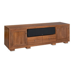 Standout Designs - Standout Haven EX 82w Solid Wood Media Console, Natural Walnut, Wood Doors - Pennsylvania craftsmen skillfully build Standout Designs Haven EX media consoles using premium American solid lumber extensively throughout. Choose from five beautiful finishes: Natural Walnut, Espresso stain on Cherry, Rose stain on Cherry, Sunrise stain (a light tint) on Cherry, and Black Lacquer on Ash. The Haven EX 82-inch media console hosts most flat screen TVs to 90 inches diagonal on its top. No assembly is required.