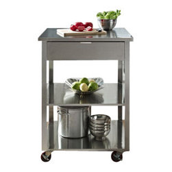 Crosley - Culinary Prep Kitchen Cart in Stainless Steel - Classic detail meeting modern stainless design in the Cutting Cart from Crosley. Featuring a stainless steel cutting surface, this essential kitchen tool is perfect for the most complex food prep chores. Oft-used gadgets rest easily in the large drawer, and knives are always within quick reach when stored in the attached cutlery bay. A large towel bar and dual shelves round out the setup. Extra large castors make moving the cart through the kitchen a snap.