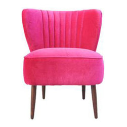 Poppy Club Chair - The Poppy Club Chair paints a perfectly pink picture. Balanced with natural wooden legs, this chair is a stylish attention grabber. Soften the bright hue with a creamy or neutral-colored throw pillow or turn up the drama with a brightly colored blanket of equal intensity.