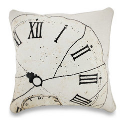 Zeckos - Weathered Antique Clock Face Printed Decorative Throw Pillow 18 in. - Add some vintage flair brimming with decorative charm to your living room sofa, the hammock on your veranda or in your garden cottage with this time inspired throw pillow. It features a printed archaic clock's face complete with cracking, roman numerals and is full of wonderfully weathered detailing on a natural colored 55% linen/45% cotton blend cover with a hidden zipper on the back to easily remove the polyester filled insert to spot clean the cover as needed, and measuring 18 inches high by 18 inches long (46 cm by 46 cm), it'll easily blend in with your existing decor, and it's perfect to toss on the bed, tuck under your arm or brighten an otherwise dark corner, and would make a fabulous housewarming gift!