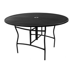 """Meadowcraft - Meadowcraft Wrought Iron 60 Round Counter Height Dining Table with Umbrella Hole - Meadowcraft is a leading domestic manufacturer of quality wrought iron furniture and cushions located in Wadley Alabama.  With traditional and post war modern styles utilizing subtle understated designs Meadowcraft furniture is an excellent addition to any home. Whether choosing the deep seating comfort of a cushioned loveseat or the comfortable durability of a commercial grade mesh bistro chair you are invited to relax in all of Meadowcrafts products.  Meadowcraft takes the """"made in the U.S.A."""" label seriously and strives to exceed its perceived responsibilities to their customers and community.  Features include Made of extremely durable wrought iron material Hand formed by skilled craftsmen to insure the strongest furniture in the industry Offered in wide selection of powder coated finishes manufactured to prevent rust Round slick shape Metal table top Available umbrella hole Commercial Grade."""