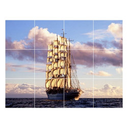 Picture-Tiles, LLC - Boat Ship Picture Wall Back Splash Tile Mural  18 x 24 - * Boat Ship Picture Wall Back Splash Tile Mural 1204