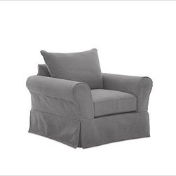 """PB Comfort Slipcovered Grand Armchair, Knife-Edge Cushion, Down-Blend Wrap Cushi - Sink into the grand armchair just once, and you'll know how it got its name. Designed with an evender seat than our regular PB Comfort Armchair, the eco-friendly grand armchair offers 5"""" of extra width. 46.5"""" w x 42"""" d x 39"""" h {{link path='pages/popups/PB-FG-Comfort-Roll-Arm-4.html' class='popup' width='720' height='800'}}View the dimension diagram for more information{{/link}}. {{link path='pages/popups/PB-FG-Comfort-Roll-Arm-6.html' class='popup' width='720' height='800'}}The fit & measuring guide should be read prior to placing your order{{/link}}. Choose polyester wrapped cushions for a tailored and neat look, or down-blend for a casual and relaxed look. Choice of knife-edged or box-style back cushions. Proudly made in America, {{link path='/stylehouse/videos/videos/pbq_v36_rel.html?cm_sp=Video_PIP-_-PBQUALITY-_-SUTTER_STREET' class='popup' width='950' height='300'}}view video{{/link}}. For shipping and return information, click on the shipping tab. When making your selection, see the Quick Ship and Special Order fabrics below. {{link path='pages/popups/PB-FG-Comfort-Roll-Arm-7.html' class='popup' width='720' height='800'}} Additional fabrics not shown below can be seen here{{/link}}. Please call 1.888.779.5176 to place your order for these additional fabrics."""