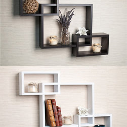 Danya B - Laminate Intersecting Espresso Wall Shelf - Display your favorite photos or knick-knacks on this laminate decorative wall shelf, which features three intersecting cubbies. The espresso shelf, which is a constructed with no visible connectors, includes all of the hardware necessary for hanging.