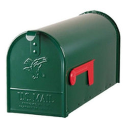 Gibraltor - Green Steel Mailbox - Standard Rural Mailbox Embossed