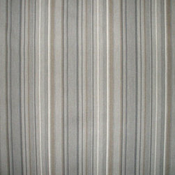 "Close to Custom Linens - 84"" Shower Curtain, Unlined, Premier Stripe Grey Beige - Premier is a varied width stripe in shades of grey on a neutral beige linen-textured background"