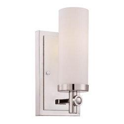 Joshua Marshal - One Light White Opal Etched Glass Polished Nickel Bathroom Sconce - One Light White Opal Etched Glass Polished Nickel Bathroom Sconce