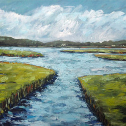 On The Water (Original) by Maren Devine - Wetlands, Marsh painting. This is painted with very thick paint, brushwork,