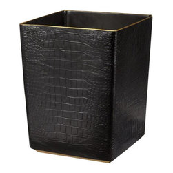 "L'Objet - L'Objet Crocodile Waste Basket - L'Objet is best known for using ancient design techniques to create timeless, yet decidedlymodern serveware, dishes, home decor and gifts. eleganceand charm. Dimensions: Waste Basket Measures: 8"" x 10"" Luxuriously Gift BoxedFrom L'Objet, ImportedCrafted by hand in Portugal using fine Limoges porcelain, this round box is finished with 24-kt. gold accents"