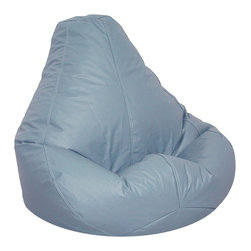 Elite Products - Lifestyle Bean Bag w Zipper Pulls in Wedgewoo - If relaxation is at the top of your list, you'll love these oversized bean bags. A designer shade of Wedgewood blue adds style that will make them a hit in any living room, family area or dorm. Quality vinyl construction features childproof zipper pulls. * Long lasting and durable. Pear shape body for add comfort. Double stitched with double overlap folded seam. Double zippered bottom for added security. Childproof safety lock zippers (pulls have been removed). Can easily be refilled by an adult. Easy to clean. Recommended seating age: 10 years + and adults. Warranty: One year limited. Made from PVC vinyl, polystyrene bead. Made in USA. No assembly required. 41 in. L x 39 in. W x 33 in. H (11 lbs.)Extra large bean bag chairs are just the right size for dorms, but they're in demand for homes and apartments, too. Great for any entertainment setting or for studying. Surround yourself with oversized luxurious comfort.